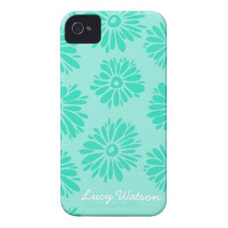 Coque iPhone 4 La turquoise fleurit la caisse audacieuse de