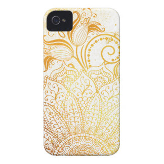 Coque iPhone 4 Mandala - brosse d'or
