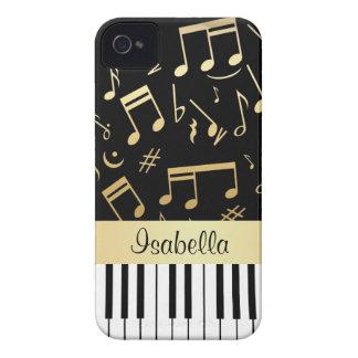 Coque iPhone 4 Noir et or de notes musicales et de clés de piano
