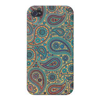 Coque iPhone 4 Rétro motif de Paisley d'arc-en-ciel de turquoise