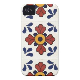 Coque iPhone 4 Tuile de Talavera en rouge et bleu