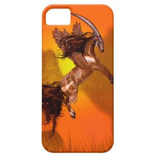 Coque iPhone 5 Animal sauvage à ailes de Brown de poney de cheval