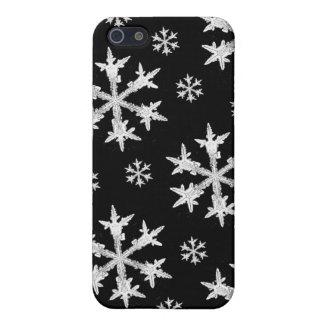Coque iPhone 5 Blanc sur la conception noire de flocon de neige
