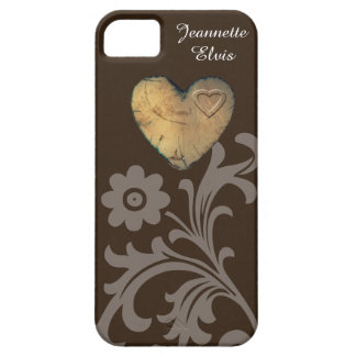 Coque iPhone 5 cas de l'iPhone SE/5/5S - coeur en bois de