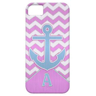 Coque iPhone 5 Case-Mate Monogramme bleu rose de Chevron d'ancre