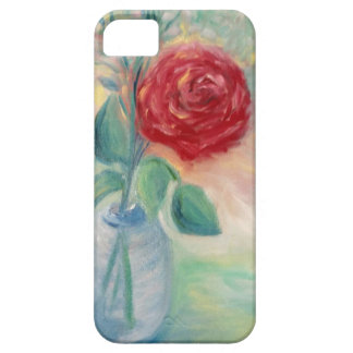 Coque iPhone 5 Case-Mate Rose rouge simple dans le vase bleu