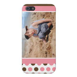Coque iPhone 5 Coutume de photo de Polkadot (rose)
