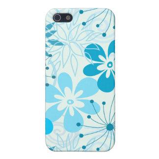 Coque iPhone 5 Fleurs abstraites bleues et cyan mignonnes de
