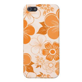 Coque iPhone 5 Fleurs oranges girly abstraites