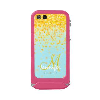 Coque iPhone 5 Incipio ATLAS ID™ Nom jaune d'or Girly d'ombre de turquoise de