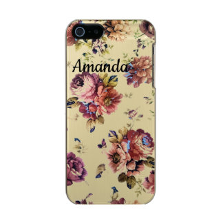 Coque iPhone 5 Incipio Feather® Shine Cas floral vintage de téléphone de plume d'or