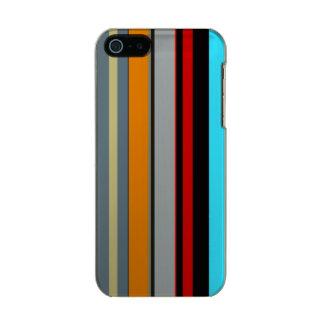 Coque iPhone 5 Incipio Feather® Shine Motif rayé multicolore argenté bleu jaune rouge