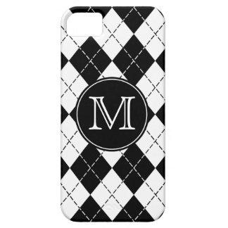 Coque iPhone 5 Jacquard noir et blanc de monogramme