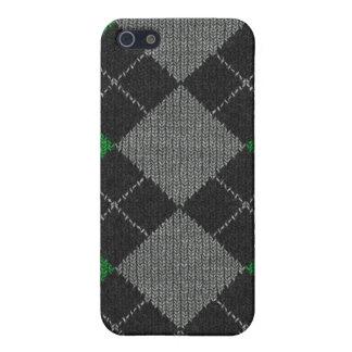 Coque iPhone 5 Jacquard vert et gris Pern de Knit