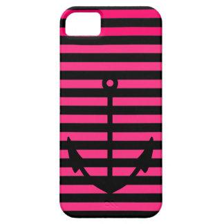Coque iPhone 5 Le rose noir barre l'ancre nautique - cas de