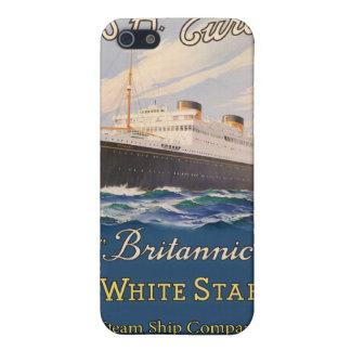 Coque iPhone 5 Ligne blanche Britannic poster vintage d'étoile