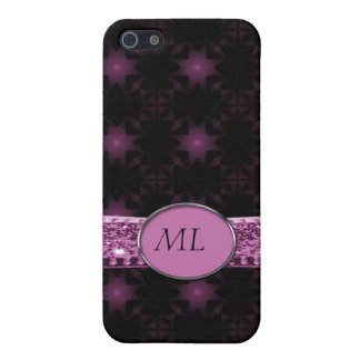 Coque iPhone 5 Monogramme de ruban de parties scintillantes de