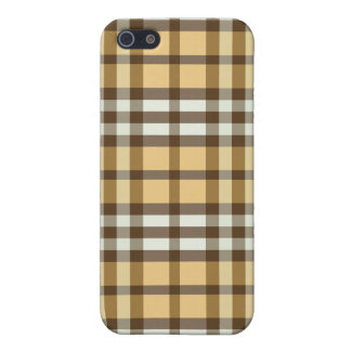 Coque iPhone 5 Or/plaid brun chocolat Pern