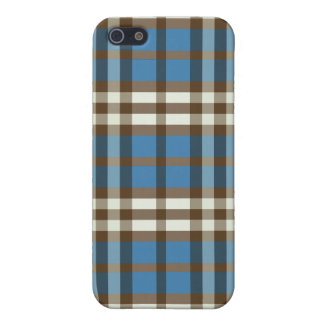 Coque iPhone 5 Plaid Pern de bleu/chocolat