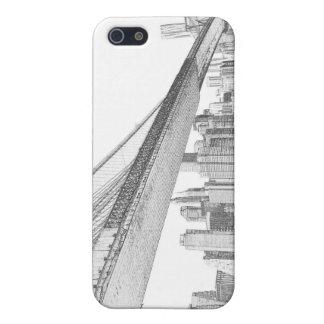 Coque iPhone 5 Pont de Brooklyn et horizon de Manhattan la nuit