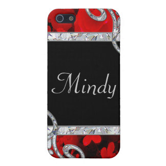 Coque iPhone 5 Roses rouges et monogramme de remous de diamant