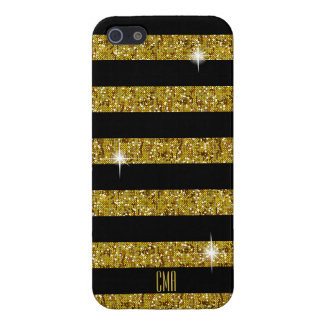 Coque iPhone 5 Scintillement de confettis d'or et monogramme des