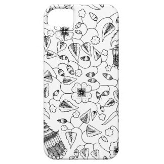 Coque iPhone 5 Textile indonésien fleuri avec des oiseaux