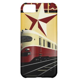 Coque iPhone 5C Affiche ferroviaire communiste vintage russe