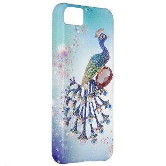 Coque iPhone 5C Art d'imaginaire d'impression de bijoux de paon