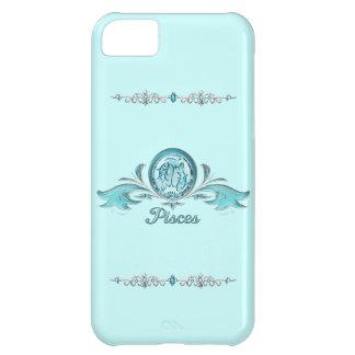 Coque iPhone 5C Bijoux d'argent et d'aigue-marine de poissons de