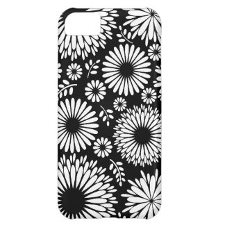 Coque iPhone 5C Boho fleurit le motif floral de vecteur noir et