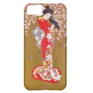 Coque iPhone 5C Clair de lune et fleurs de cerisier