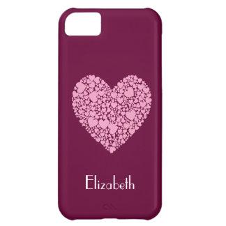 Coque iPhone 5C Coeurs roses dans une Coeur-Baie+Nom