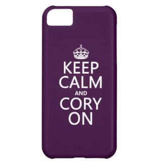 Coque iPhone 5C Gardez le calme et le Cory sur (toute couleur)
