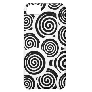 Coque iPhone 5C Motif noir et blanc de vecteur de spirales