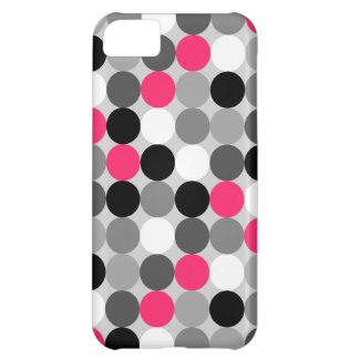 Coque iPhone 5C Motif noir et blanc rose mignon de vecteur de