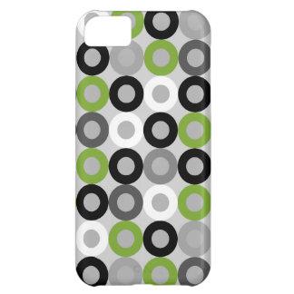 Coque iPhone 5C Motif noir et blanc vert mignon de vecteur de