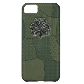 Coque iPhone 5C Patchwork irlandais chanceux adorable de shamrock