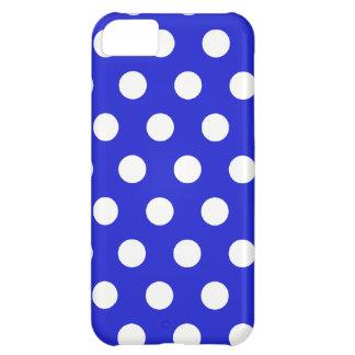Coque iPhone 5C Pois blanc sur le bleu - cas de l'iPhone 5