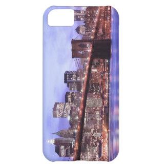 Coque iPhone 5C Pont de Brooklyn et horizon de Manhattan la nuit