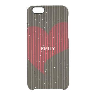 Coque iPhone 6/6S Coeur de scintillement décoré d'un monogramme de