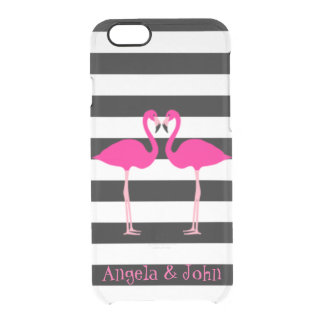 Coque iPhone 6/6S Flamants roses, noir, rayures blanches