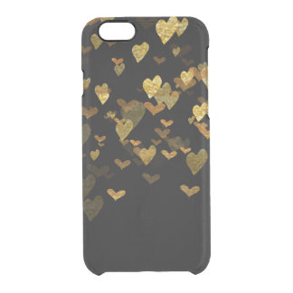 Coque iPhone 6/6S iPhone d'or Clearly™ de confettis de coeurs de