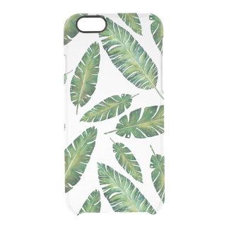 Coque iPhone 6/6S La banane d'aquarelle part du motif tropical d'été