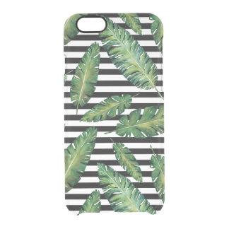 Coque iPhone 6/6S Le noir barre le motif tropical d'été de feuille