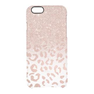 Coque iPhone 6/6S Léopard rose d'ombre de scintillement d'or de faux