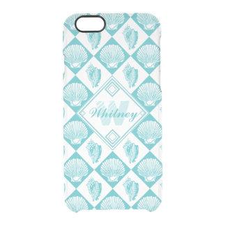 Coque iPhone 6/6S Monogramme nautique de plage de diamant bleu de