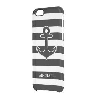 Coque iPhone 6/6S Motif nautique blanc noir moderne de rayures