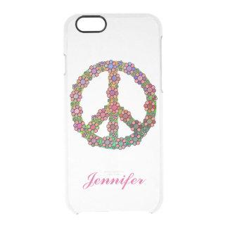 Coque iPhone 6/6S Symbole de signe de paix de fleur personnalisé