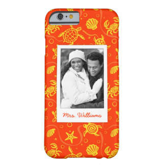 Coque iPhone 6 Barely There Ajoutez votre motif orange de plage de la photo |